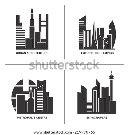 Urban architecture vector set. City skyscrapers silhouette abstract collection - stock vector