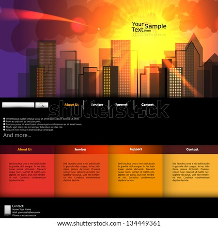 Urban Background, City in sunrise, illustration, website template - stock vector