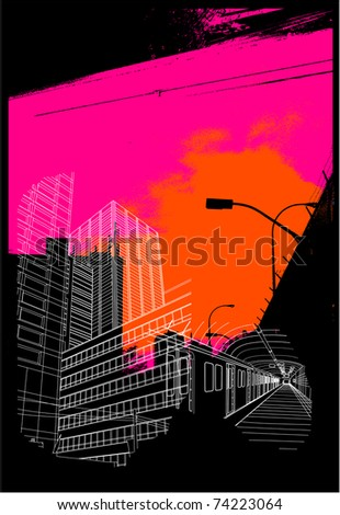 urban background collage - stock vector