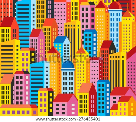 Urban background of buildings, houses, skyscrapers. For decoration and creativity in urban and industrial design theme. - stock vector