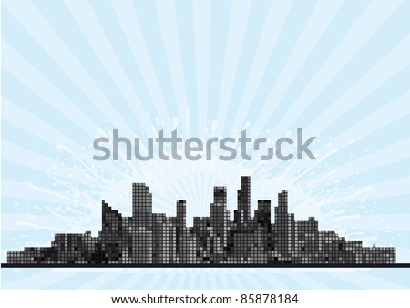 Urban background. Vector abstract skyscrapers on grunge background with yellow blobs and rays - stock vector