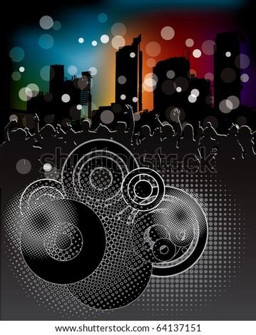 Urban background with party people - stock vector