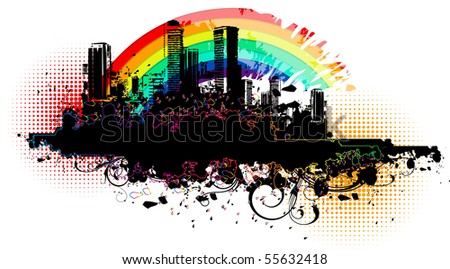 Urban banner with a rainbow - stock vector