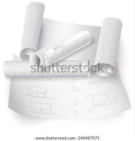 Urban Blueprint (vector). Architectural background. Part of architectural project, architectural plan, technical project, construction plan - stock vector