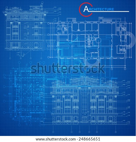 Urban Blueprint (vector). Architectural background. Part of architectural project, architectural plan, technical project, design on paper, construction plan - stock vector