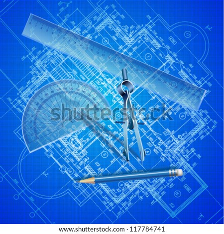Urban blueprint  with drawing tools. Architectural background (vector). - stock vector