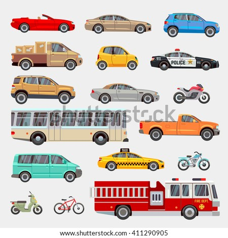 Urban, city cars and vehicles transport vector flat icons set. Car vehicle, car transport, taxi and car transportation illustration - stock vector