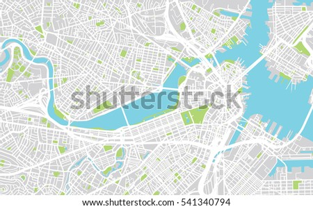 Urban City Map Boston Usa Stock Vector 541340794 Shutterstock