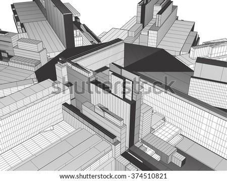 Urban City Of Skyscrapers Vector 330 - stock vector