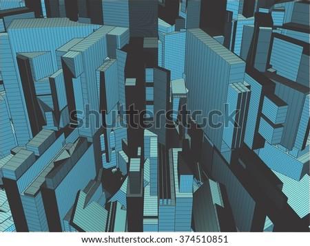 Urban City Of Skyscrapers Vector 322 - stock vector