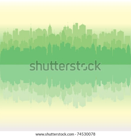 urban city vector reflecting in the water - stock vector