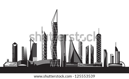 Urban cityscape by day - vector illustration - stock vector