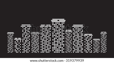 Urban cityscape White illustration on black background - stock vector