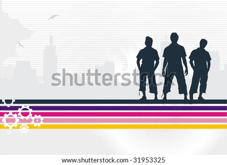 urban color stain with silhouettes of the people - stock vector
