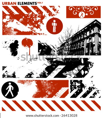 urban design elements / 1 - stock vector