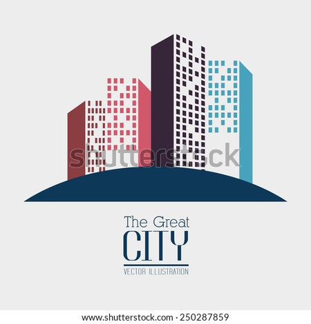 Urban design over white background, vector illustration.