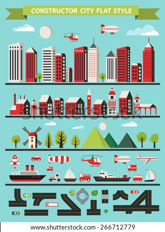 Urban Designer landscapes of the city. Design set in a flat style with houses, roads and transport - stock vector