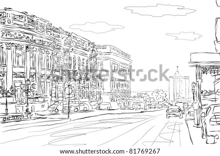 urban doodle sketch. vector - stock vector