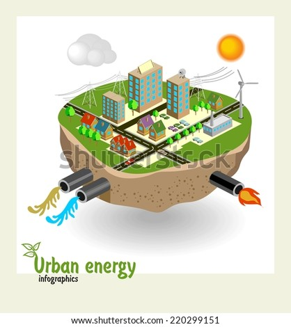 Urban energy engineering communications, conceptual vector illustration - stock vector