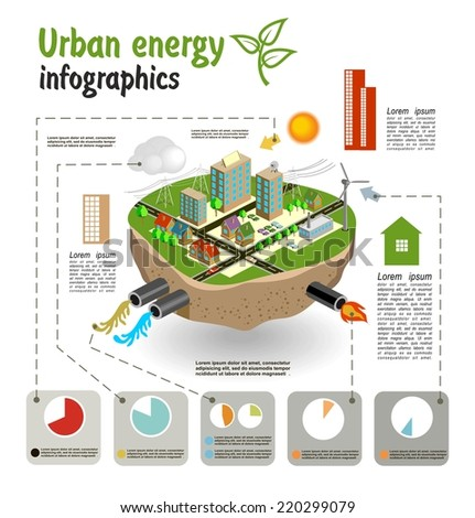 Urban energy, infographics template for your design. Vector - stock vector