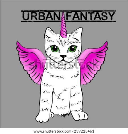 Urban Fantasy. cute unicorn cat with pink wings vector illustration. - stock vector