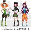 Urban fashion girls (from fashion girl series) - stock vector