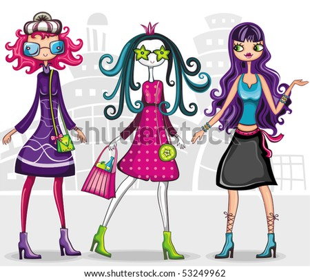 Urban fashion girls (from fashion girl series) - stock vector
