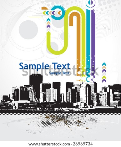 Urban grunge city with sample text background - vector illustration - stock vector