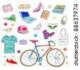 urban hipster accessories, smart colored doodles isolated on white - stock photo
