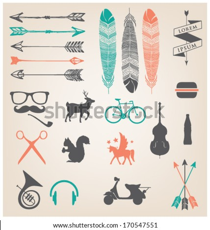 URBAN ICONS & SYMBOLS. HIPSTER TREND. Editable vector illustration file. - stock vector