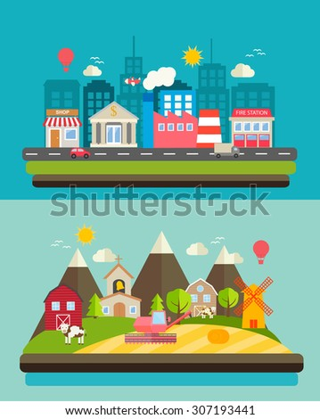Urban landscape and rural scenery comparison, web banners set, vector illustration - stock vector