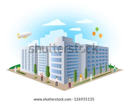 urban landscape building, vector - stock vector