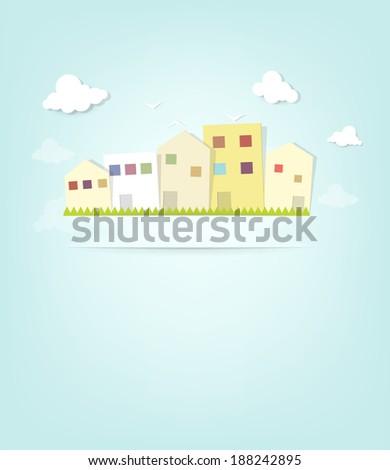 urban landscape. cutout illustration - stock vector