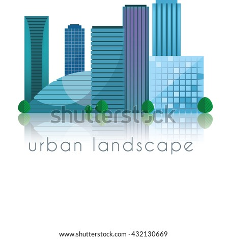Urban landscape. Downtown. Flat modern design. Vector illustration
