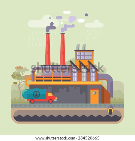 Urban landscape. Ecology, environmental protection: production, factory, plant, pollution, smoke, building. Vector flat illustrations - stock vector