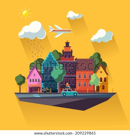 Urban landscape. Flat design. - stock vector