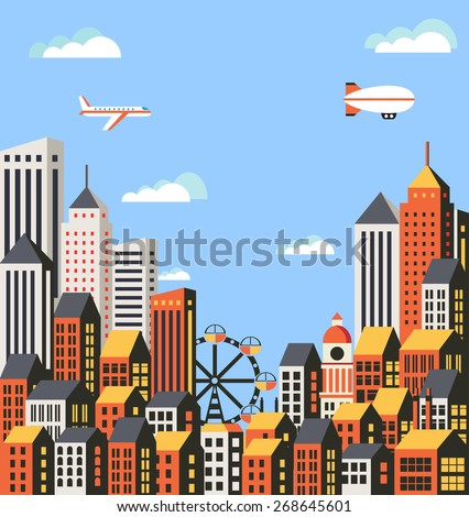 Urban landscape in a flat style with houses, roads and transport - stock vector