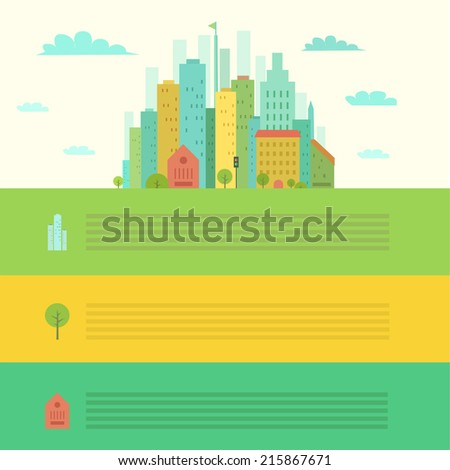 Urban landscape in flat design and places for text or infographic. Vector illustration - stock vector