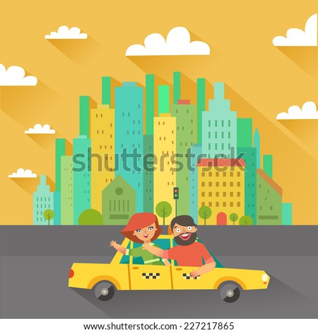 Urban landscape in flat design. Happy people in a taxi cab and buildings on background. Vector colorful illustration in modern colors - stock vector