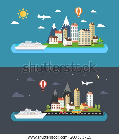 Urban landscape in flat style. City by day and night vector illustration - stock vector