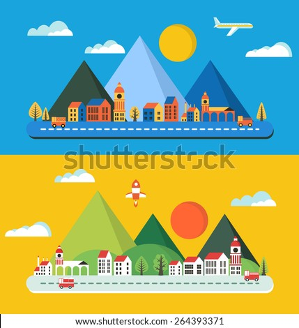 Urban landscape in the style of a flat city, city buildings, vehicles. - stock vector