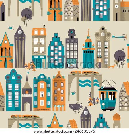 Urban landscape. Seamless background pattern. Vector illustration - stock vector