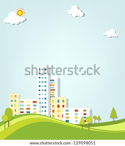 urban landscape. vector applique. - stock vector
