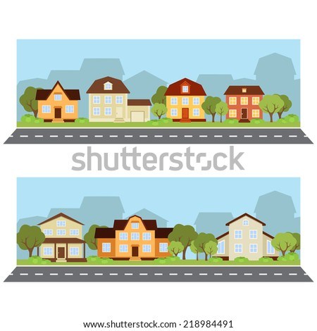 urban landscape. vector banner with houses in flat style - stock vector