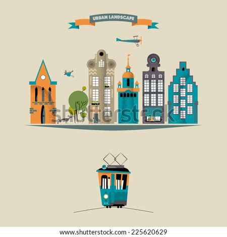 Urban landscape. Vector illustration - stock vector