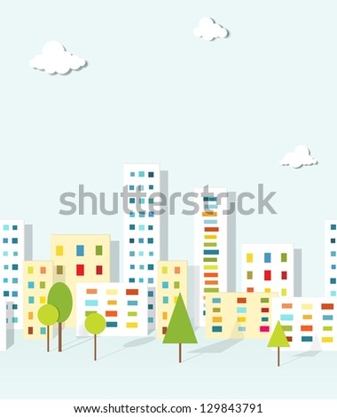 urban landscape. vector seamless pattern - stock vector