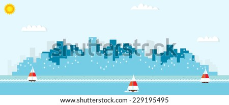urban landscape witch yachts - stock vector