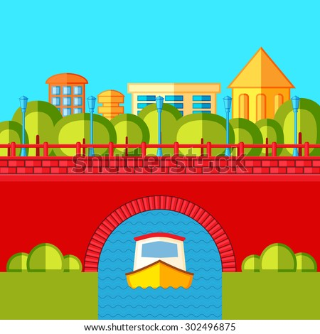 Urban landscape with a brick bridge , river and canal boat. Flat vector illustration. - stock vector