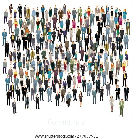 Urban lifestyle concept. A large group of people. Flat design. Vector background - stock vector