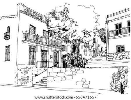 urban line art sketch landscape old stock vector 658471657 shutterstock. Black Bedroom Furniture Sets. Home Design Ideas